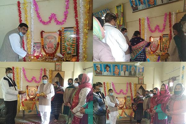 Maharshi Vidya Mandir Daulatpurchowk, celebrated 150th Birthday Anniversary of His Divinity Gurudev Shri Swami Brahmanand Saraswati Ji .The celebration commenced with Special Shri Guru Parampara Poojan and followed by lighting of lamp by Principal.